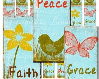 Simplicity- Faith Hope Love Joy Peace (1 x 2 Inch) Slide Images Digital Collage Sheet  Sale printable magnet button sticker