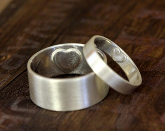 Secret Heart wedding ring set (E0307)