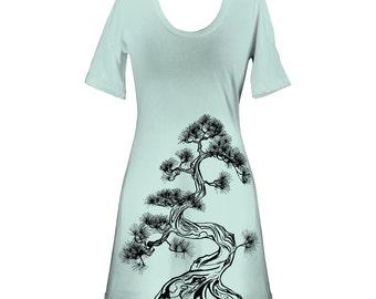 Ash Grey Seafoam Japanese Pine Tree, Bonsai, Sumi-e Screen Printed Crewneck T-Shirt Dress - Size S