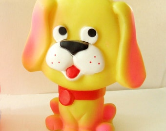 Vintage Baby Squeak Toy of a Yellow Dog - Kitsch and Cute