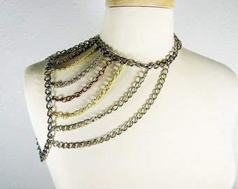 Shoulder Chain Necklace, Mixed Metal,  Shoulder Harness Necklace, Asymmetrical Harness, Industrial Jewelry, Body Jewelry, Handmade