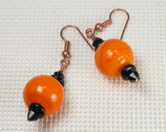 Halloween Earrings, Orange and Black Earrings, Copper Jewelry