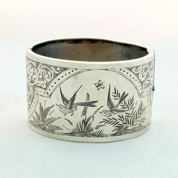 Antique Victorian Sterling Silver Hinged Cuff Bangle Bracelet Love Birds Aesthetic Movement Vintage, Black Friday Etsy, Cyber Monday Etsy