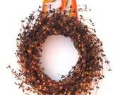 Orange Burgundy Fall Wreath - Front Door Decor - Autumn wreath