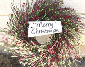 Holiday Wreath - Merry Christmas Wishes for Holiday Door, Primitive Berry Wreath Christmas Decoration - laurelsbylaurie