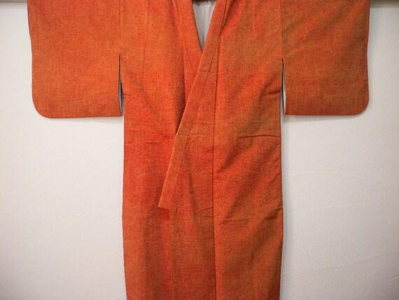 Vintage kimono 2416, awase, tsumugi, orange yellow red,  silk