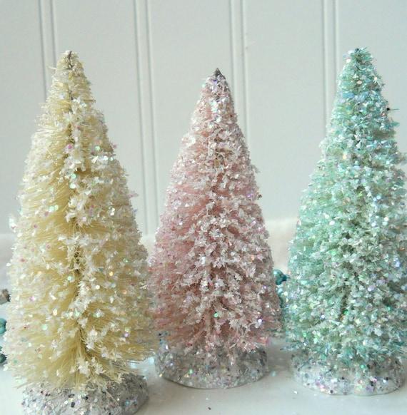 3 Vintage style Bottle Brush Christmas trees cream aqua pale