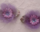 2 pc PURPLE Organza Velvet Ribbon Daisy Flower Fabric Sequin Stone Beaded  w Leaves Applique Bridal Baby Christening