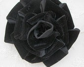 3.5 inch BLACK Velvet Ribbon Rose Fabric Flower PIN Applique Hat Corsage Baby Pageant Bridal Hair Accessory Applique