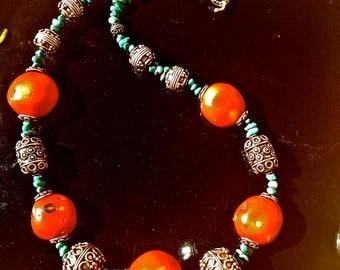Arizona Native Turquoise Coral Necklace