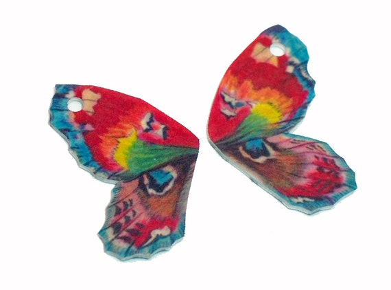Rainbow Fairy Wing charms 2pcs -  handmade in the usa