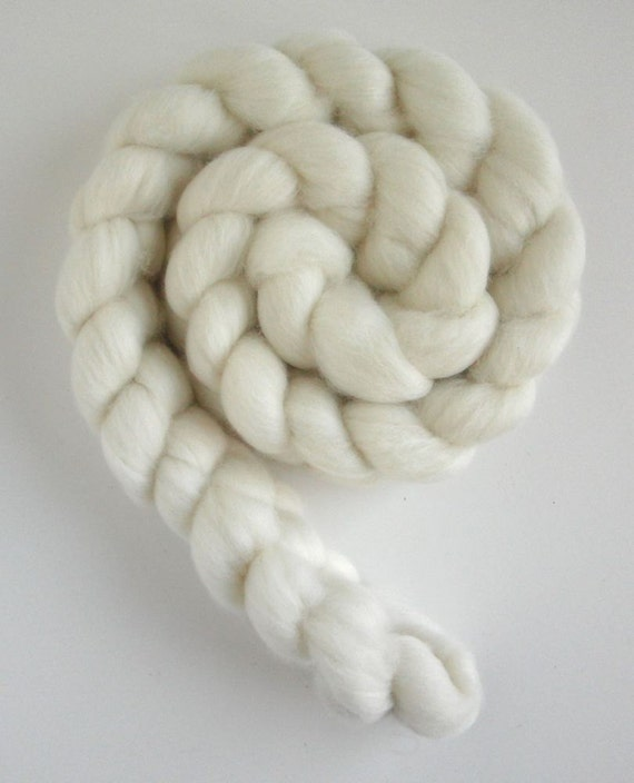 Superfine Merino Roving (Top) - Undyed Spinning or Felting Fiber Fiber, 4 ounces