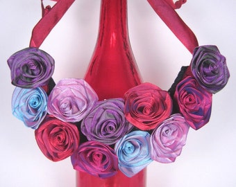 Bridesmaid bib statement necklace of ribbon roses -- French ribbon roses in red and purple -- this one is a compliment magnet