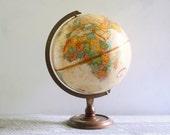 Vintage Replogle World Classic Globe on Wooden Pedestal