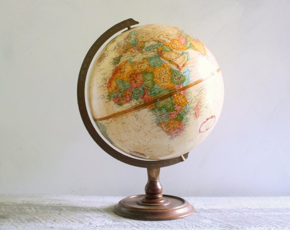 Vintage Replogle World Classic Globe on Wooden Pedestal