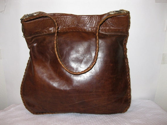 Handcrafted thick soft waxed vintage leather  ex large tote carryall  hobo purse in warm deep honey tan color