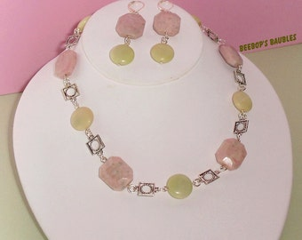 Pink Peace Jade & Lime Green Jasper Choker Necklace and Earrings