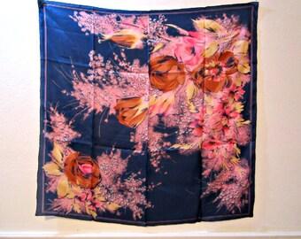 Silk Scarf, Floral Silk Scarf, Silk Necktie, Silk Wrap, Scarf Oriental silk