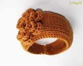 Free Ship - Knitted Flower Headband - Ear Warmer - Headpiece, in Dark Honey