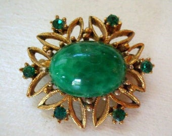 Vintage peking glass brooch or pin oval with green cabochon and rhinestones