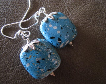 Spatter Paint Turquoise Blue and Silver Earrings