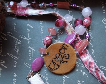 Shabby Chic Pink Fabric Necklace with Wood Dream Pendant