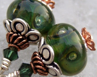 The Grass Bubble- Artisan Lampwork, Copper and Sterling Earrings- Cynensemble