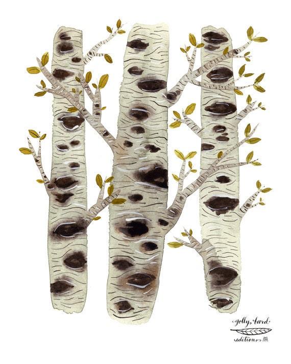 Birch Trees Print, giclee print,  woodland decor, birch bark, nature illustration, watercolor print, nature art