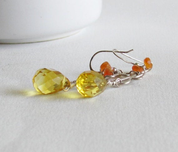Citrine Earrings - Gemstone Earrings - Citrine Jewelry