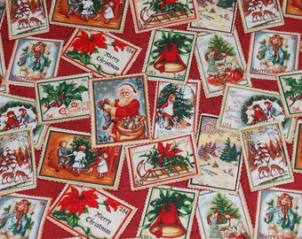 Vintage Christmas Postage Stamps Fabric By The Yard