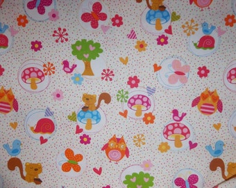Owls and Chipmunk Fabric By The Yard FBTY