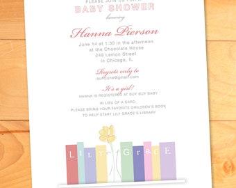 Baby Shower Invitation, Library, Books, Girly, Chic, Typography, Children's Books, Custom Baby Shower Invitation
