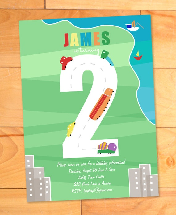 Modern Trucks Birthday Card, Transportation Birthday Party Invite, Trucks, Cars, Boats, Custom Birthday Invitation