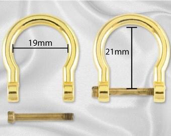"""4pcs - 1/2"""" Horseshoe Shaped Bamboo Handle Hardware - Gold - Free Shipping (HARDWARE HRD-202)"""