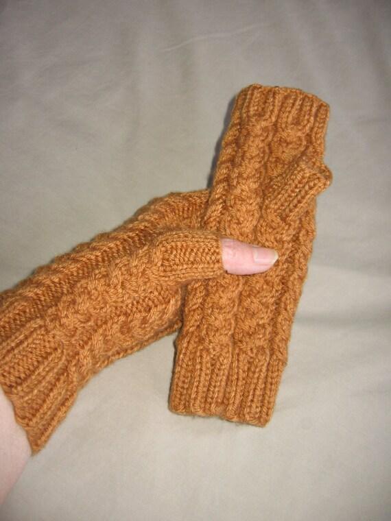 Honey Yellow Hand Knit Fingerless Gloves