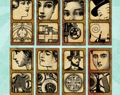 Digital Collage Sheet STEAMPUNK VIGNETTES 1x2in Ladies Gears Machinery Diagrams - no. 0156