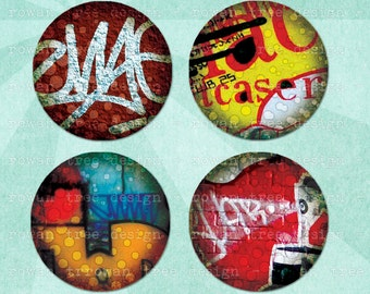 Digital Collage Sheet URBAN GRAFFITI 1.5in or 1in Circles Printable Download - no. 0163