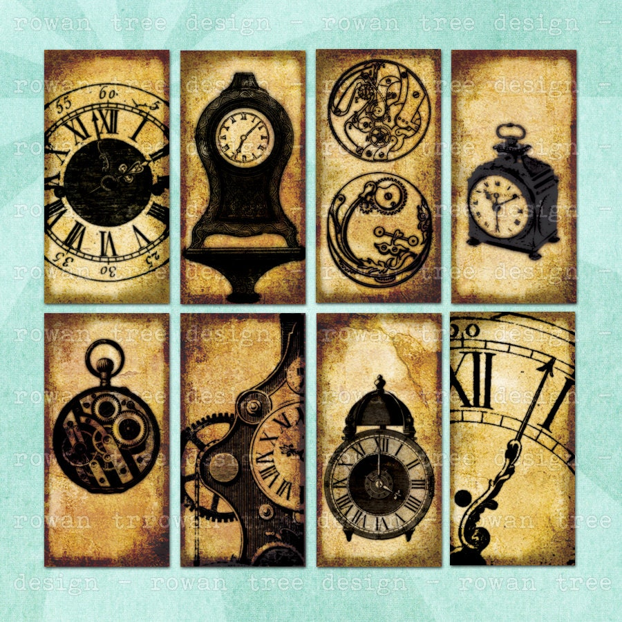 CLOCKS & CLOCK PARTS Digital Collage Sheet Vintage 1x2in