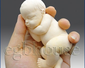 3D Silicone Soap Mold-Lifelike Baby Aiden(2 parts assembled mold)- Buy from Original Designer - Say no to copy cats