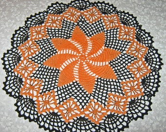 "Crochet Halloween Doily, 15"", Round, Orange & Black, round, pinwheel design"