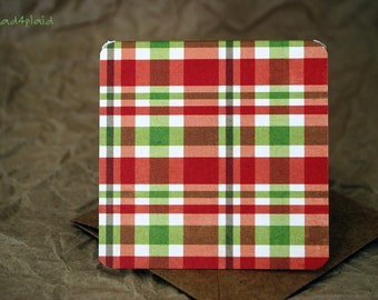 Blank Mini Holiday Card Set of 10, Red and Green Plaid with Contrasting Dots on the Inside, Natural Kraft Envelopes, mad4plaid