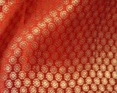 Indian Brocade Silk Orange with Golden Circles Pattern - Fat Quater