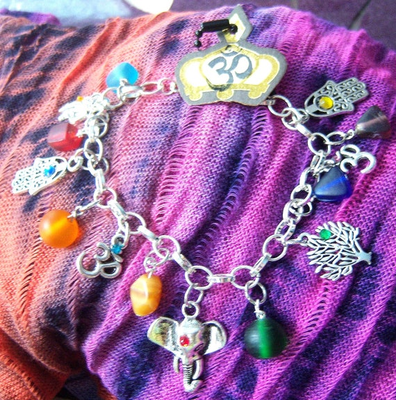 Yoga Inspired Charm Bracelet OOAK  (one of a kind)