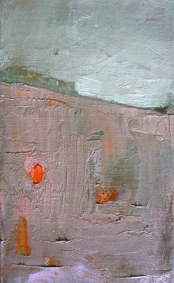 Landscape with Pumpkins, Original mini oil painting on canvas board, 5 x 3