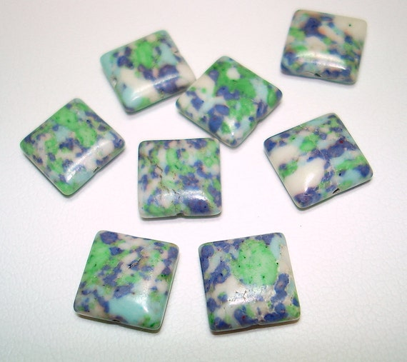 Green White Blue Square Stone Beads (Qty 8) - B1383