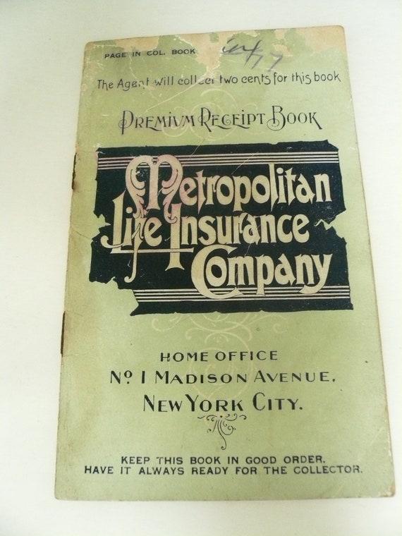 Antique Metropolitan LIfe Insurance Company Premium Receipt Book