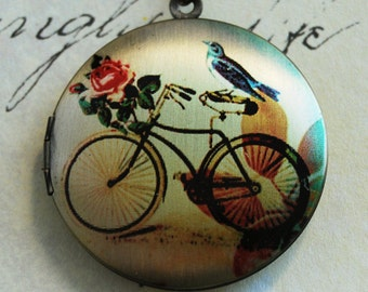 Bicycle Locket Necklace - with Blue Bird and Rose Brass Photo Locket  (R3B-C2)