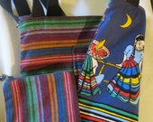 Two Sided Guatemalan Fabric Tote Bag with Unique Cotton Fabric of Mexican Children Looking at the moon and  the Sky