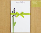 Personalized Stationary Notepad - Purple Little Flower Buds - 50 sheets