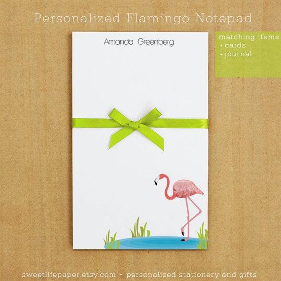 Personalized Flamingo Notepad Stationery - 50 sheets